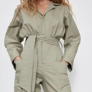 NWT Zara Khaki Green Long Belted Jumpsuit
